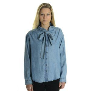 Closed Nell Denim Look Bow Tie Chambray Blouse S
